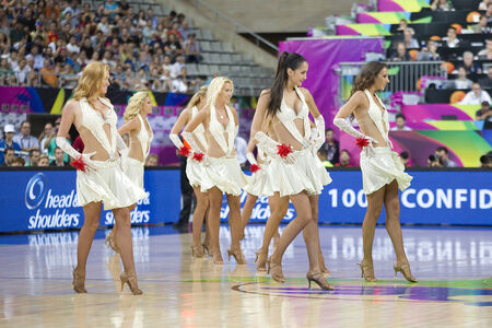 Khimki Dancers cheerleaders perform at FIBA World Cup basketball match between Slovenia and Dominican Republic, final score 71-61, on September 6, 2014, in Barcelona, Spain