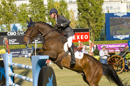 Rutherford Latham from Spain rides Nectar du Plessis at the 100th CSIO event at the Real Club de Polo Barcelona, on September 25, 2011, in Barcelona, Spain