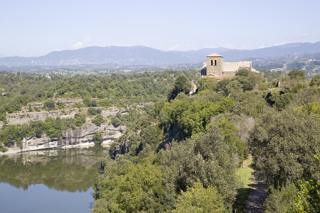 11th century: View of Sant Pere de Casserres, a Benedictine monastery, on September 10, 2014, in Les Masies de Roda, Barcelona, Spain. Is a 11th century Romanesque style building