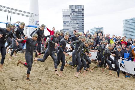 gomez: Some athletes compete at Garmin Barcelona Triathlon, on October 5, 2014, in Barcelona, Spain. Javier Gomez Noya won the event