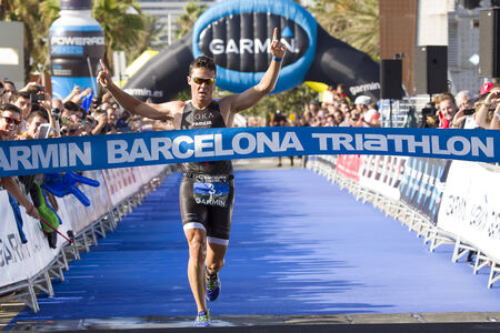 gomez: Javier Gomez Noya, the world champion, wins Garmin Barcelona Triathlon, on October 5, 2014, in Barcelona, Spain
