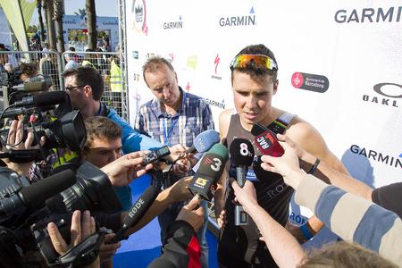 gomez: Javier Gomez Noya won the men Garmin Barcelona Triathlon with a time of 1:45:27, on October 5, 2014, in Barcelona, Spain