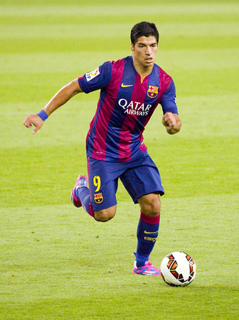 barsa: Luis Suarez of FCB in action at Gamper friendly match between FC Barcelona and Club Leon FC, final score 6-0, on August 18, 2014, in Camp Nou, Barcelona, Spain