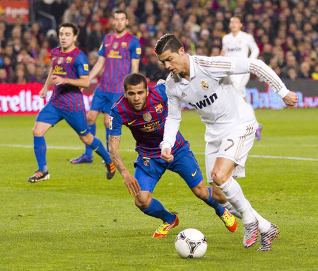 Cristiano Ronaldo in action at the Spanish Cup match between FC Barcelona and Real Madrid, final score 2 - 2, on January 25, 2012, in Camp Nou, Barcelona, Spain