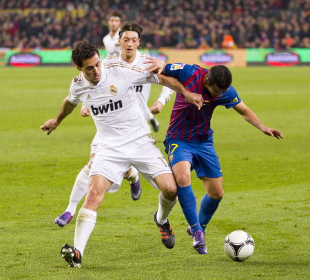 barsa: Alvaro Arbeloa in action at the Spanish Cup match between FC Barcelona and Real Madrid, final score 2 - 2, on January 25, 2012, in Camp Nou, Barcelona, Spain