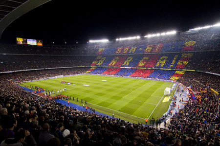 View of Camp Nou stadium before the Spanish Cup match between FC Barcelona and Real Madrid, final score 2 - 2, on January 25, 2012, in Camp Nou, Barcelona, Spain Editorial