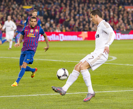 barsa: Cristiano Ronaldo in action at the Spanish Cup match between FC Barcelona and Real Madrid, final score 2 - 2, on January 25, 2012, in Camp Nou, Barcelona, Spain
