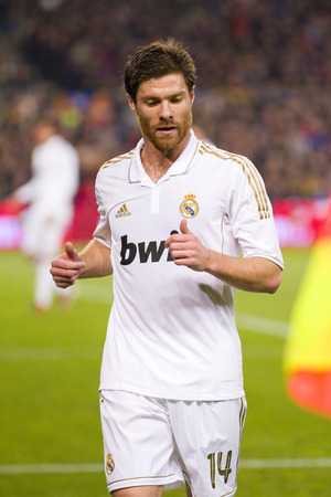Xabi Alonso in action at the Spanish Cup match between FC Barcelona and Real Madrid, final score 2 - 2, on January 25, 2012, in Camp Nou, Barcelona, Spain Editorial