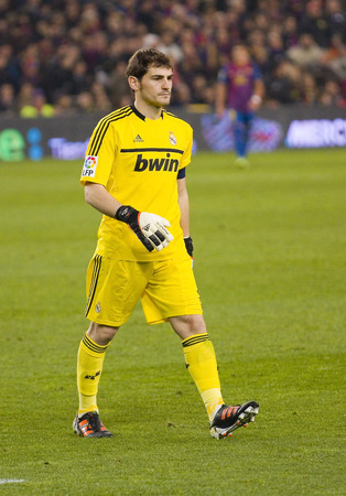 barsa: Iker Casillas in action at the Spanish Cup match between FC Barcelona and Real Madrid, final score 2 - 2, on January 25, 2012, in Camp Nou, Barcelona, Spain Editorial