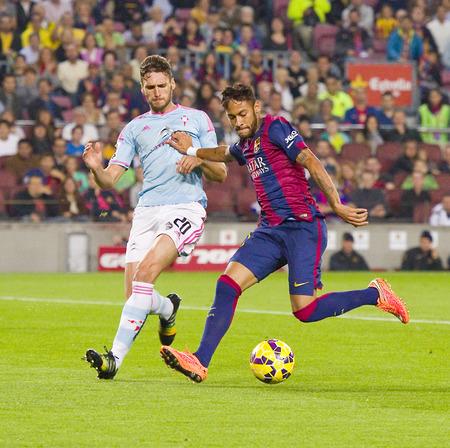 セルタ ・ デ ・ ビーゴ、最終と FC バルセロナ スペイン リーグの試合でアクションで Neymar ジュニア スコア 0-1、2014 年 11 月 1 日、カンプ ・ ノウ ・ 報道画像