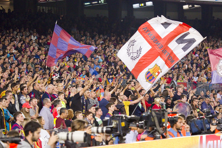 Unidentified FCB supporters at Spanish League match between FC Barcelona and Celta de Vigo, final score 0-1, on November 1, 2014, in Camp Nou stadium, Barcelona, Spain