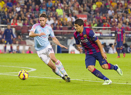 barsa: Luis Suarez of FCB in action at Spanish League match between FC Barcelona and Celta de Vigo, final score 0-1, on November 1, 2014, in Camp Nou stadium, Barcelona, Spain