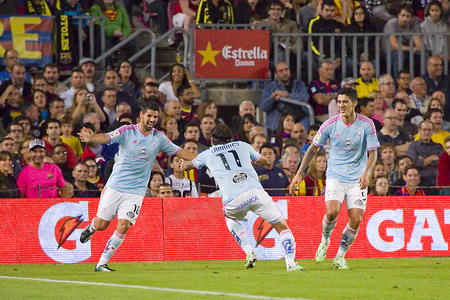 Celta players celebrating a goal at Spanish League match between FC Barcelona and Celta de Vigo, final score 0-1, on November 1, 2014, in Camp Nou stadium, Barcelona, Spain Editorial