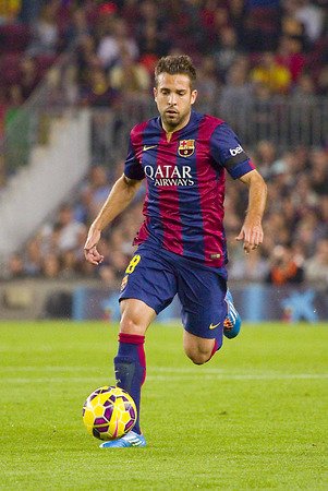 Jordi Alba of FCB in action at Spanish League match between FC Barcelona and Celta de Vigo, final score 0-1, on November 1, 2014, in Camp Nou stadium, Barcelona, Spain