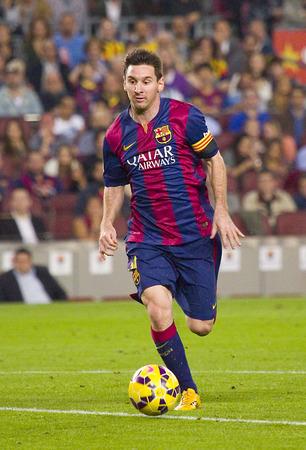 セルタ ・ デ ・ ビーゴ、最終と FC バルセロナ スペイン リーグの試合でアクションの FCB の Lionel Messi スコア 0-1、2014 年 11 月 1 日、カンプ ・ ノウ