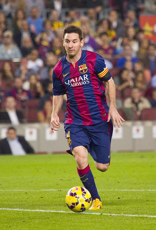 Lionel Messi of FCB in action at Spanish League match between FC Barcelona and Celta de Vigo, final score 0-1, on November 1, 2014, in Camp Nou stadium, Barcelona, Spain