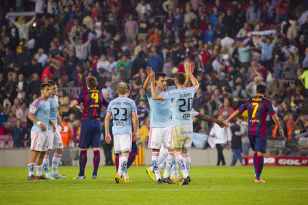 Celta players celebrating the victory at the end of Spanish League match between FC Barcelona and Celta de Vigo, final score 0-1, on November 1, 2014, in Camp Nou stadium, Barcelona, Spain