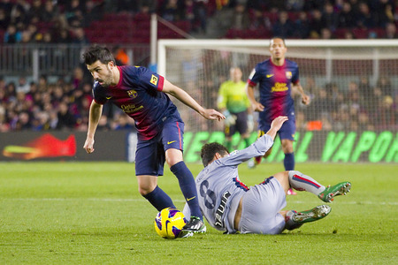 David Villa of FCB in action at the Spanish League match between FC Barcelona and Osasuna, final score 5 - 1, on January 27, 2013, in Barcelona, Spain