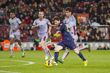 lionel: Lionel Messi of FCB in action at the Spanish League match between FC Barcelona and Osasuna, final score 5 - 1, on January 27, 2013, in Barcelona, Spain