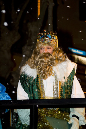 melchor: Caspar King at the Biblical Magi Three Wise Men parade, who give toys to the children. Is a traditional spanish celebration. January 5, 2012 in Alella, Barcelona, Spain Editorial