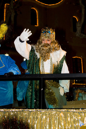 caspar: Caspar King at the Biblical Magi Three Wise Men parade, who give toys to the children. Is a traditional spanish celebration. January 5, 2012 in Alella, Barcelona, Spain Editorial
