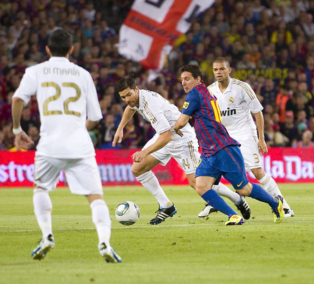 messi: Lionel Messi of FCB in action at the Spanish Super Cup final match between FC Barcelona and Real Madrid, 3 - 2, on August 17, 2011 in Camp Nou stadium, Barcelona, Spain