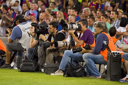 barsa: Sport journalists working at the Spanish Super Cup final match between FC Barcelona and Real Madrid, 3 - 2, on August 17, 2011 in Camp Nou stadium, Barcelona, Spain