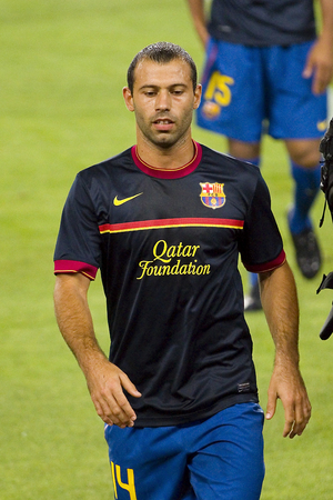 barsa: Javier Mascherano of FCB in action at the Spanish Super Cup final match between FC Barcelona and Real Madrid, 3 - 2, on August 17, 2011 in Camp Nou stadium, Barcelona, Spain