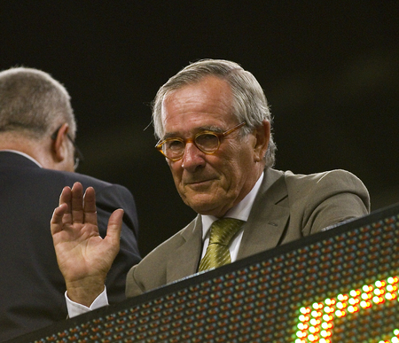 barsa: Xavier Trias, mayor of Barcelona city, during the Spanish Super Cup final match between FC Barcelona and Real Madrid, 3 - 2, on August 17, 2011 in Camp Nou, Barcelona, Spain