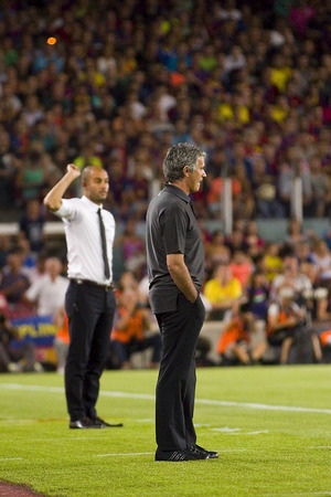 pep: Jose Mourinho and Pep Guardiola at the Spanish Super Cup final match between FC Barcelona and Real Madrid, 3 - 2, on August 17, 2011 in Camp Nou stadium, Barcelona, Spain