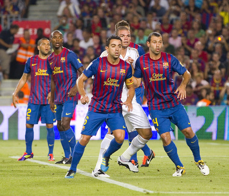 pepe: Some players in action at the Spanish Super Cup final match between FC Barcelona and Real Madrid, 3 - 2, on August 17, 2011 in Camp Nou stadium, Barcelona, Spain