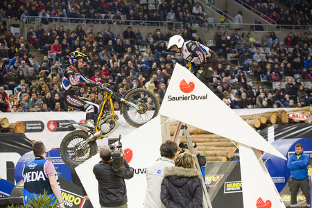 trial indoor: Albert Cabestany compete at Trial Indoor of Barcelona, on February 9, 2014, in Palau Sant Jordi stadium, Barcelona, Spain. Toni Bou was the winner