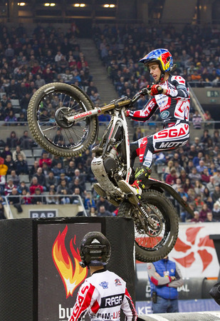 trial indoor: Adam Raga compete at Trial Indoor of Barcelona, on February 9, 2014, in Palau Sant Jordi stadium, Barcelona, Spain. Toni Bou was the winner Editorial