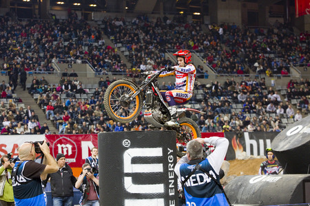 trial indoor: Toni Bou, the world champion, compete at Trial Indoor of Barcelona, on February 9, 2014, in Palau Sant Jordi stadium, Barcelona, Spain. He was the winner Editorial