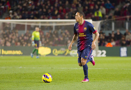 barsa: Adriano Correia of FCB in action at the Spanish League match between FC Barcelona and Osasuna, final score 5 - 1, on January 27, 2013, in Barcelona, Spain