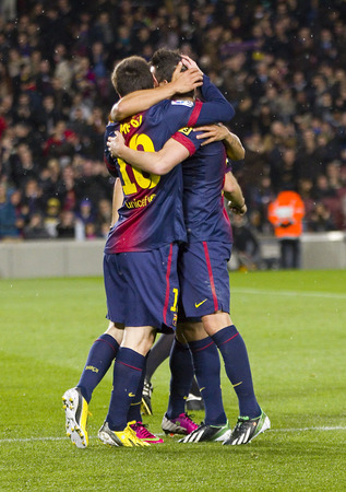 FCB players celebrating a goal at the Spanish League match between FC Barcelona and Osasuna, final score 5 - 1, on January 27, 2013, in Barcelona, Spain