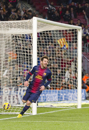 lionel: Lionel Messi celebrating his goal at the Spanish League match between FC Barcelona and Osasuna, final score 5 - 1, on January 27, 2013, in Barcelona, Spain Editorial