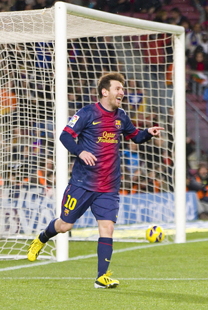Lionel Messi celebrating his goal at the Spanish League match between FC Barcelona and Osasuna, final score 5 - 1, on January 27, 2013, in Barcelona, Spain Editorial