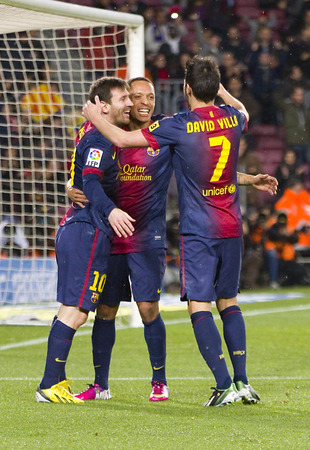barsa: Leo Messi and other players celebrating a goal at the Spanish League match between FC Barcelona and Osasuna, final score 5 - 1, on January 27, 2013, in Barcelona, Spain