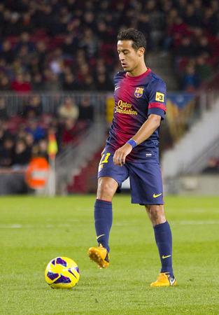 barsa: Thiago Alcantara of FCB in action at the Spanish League match between FC Barcelona and Osasuna, final score 5 - 1, on January 27, 2013, in Barcelona, Spain