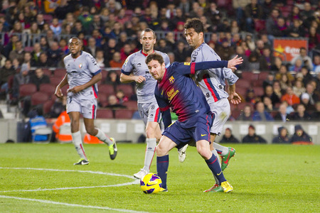 barsa: Lionel Messi of FCB in action at the Spanish League match between FC Barcelona and Osasuna, final score 5 - 1, on January 27, 2013, in Barcelona, Spain