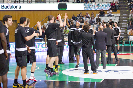 professional basketball league: Joventut players before the Spanish Basketball League match between Joventut and Zaragoza, final score 82-57, on April 13, 2014, in Badalona, Spain Editorial