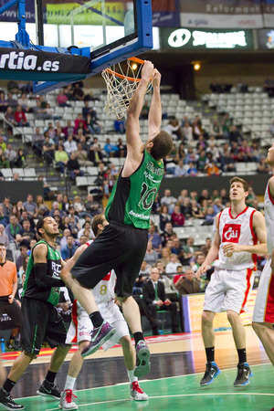 professional basketball league: Albert Miralles of Joventut in action at Spanish Basketball League match between Joventut and Zaragoza, final score 82-57, on April 13, 2014, in Badalona, Spain