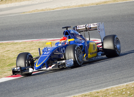 sauber: Felipe Nasr racing with his Sauber at Formula One Test Days at Catalunya circuit, on February 22, 2015, in Barcelona, Spain Editorial