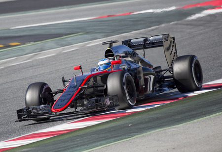 formula one: Fernando Alonso racing with his McLaren Honda at Formula One Test Days at Catalunya circuit, on February 22, 2015, in Barcelona, Spain.