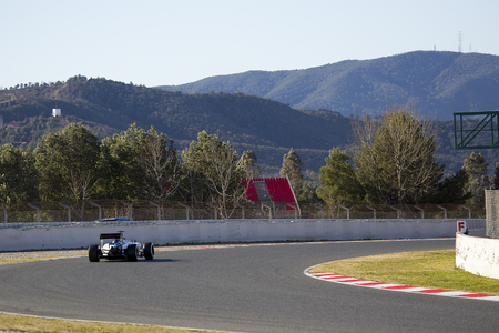 formula one racing: Valtteri Bottas racing with his Williams at Formula One Test Days at Catalunya circuit, on February 22, 2015, in Barcelona, Spain Editorial