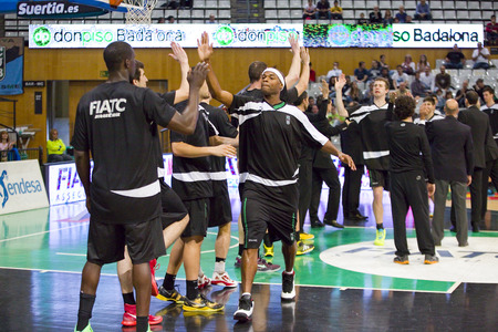 professional basketball league: Tariq Kirksay of Joventut at Spanish Basketball League match between Joventut and Zaragoza, final score 82-57, on April 13, 2014, in Badalona, Spain Editorial
