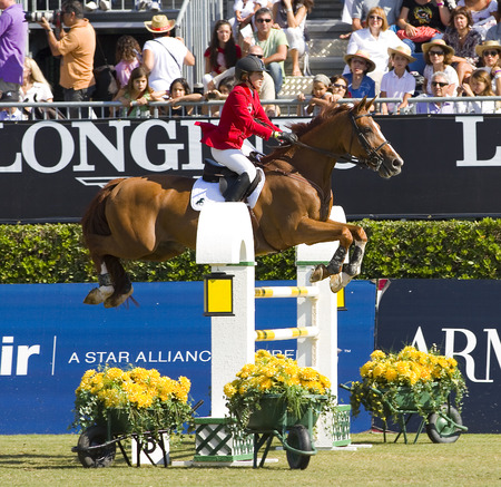 Unidentified rider at the 100th CSIO event at the Real Club de Polo Barcelona, on September 25, 2011, in Barcelona, Spain