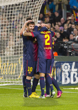 barsa: FCB players celebrating a goal at the Spanish League match between FC Barcelona and Osasuna, final score 5 - 1, on January 27, 2013, in Barcelona, Spain
