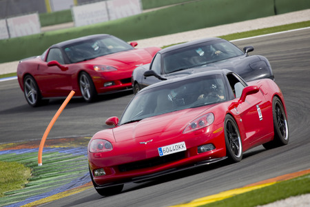 corvette: A red Chevrolet Corvette C6 take part in American Fest weekend organizated in circuit Ricardo Tormo on April 25 2015 in Cheste Valencia Spain Editorial